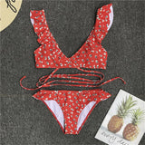 Grande Motte | Sexy Red Cris-Cross Bikini With Flounces