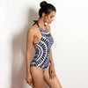 Harbour Island | Black And White Tribal Print Halter Backless One Piece
