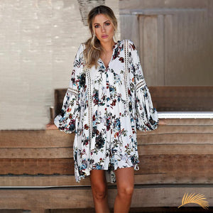 Hollow Out Boho Loose Mini Dress - White