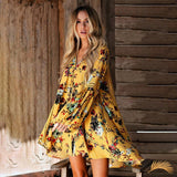 Hollow Out Boho Loose Mini Dress - Yellow