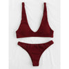 Jamaica | Textured Dark Red Triangle Sporty Cheeky Bottom Bikini