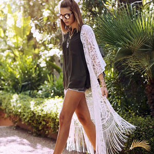 Long Lace Cardigan with Tassels