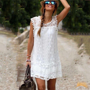 Mini Lace Dress With Pompoms