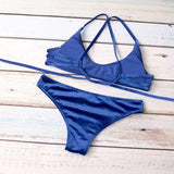 Montego Bay | Velvet Back Crossed Crop Top Bikini