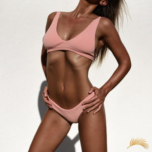 Nassau | Textured Light Pink Triangle Sporty Cheeky Bottom Bikini