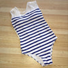 Pampelonne | Elegant Navy Striped Mesh Back One Piece