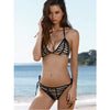 Panamá | Stripped Pattern Mesh Triangle Halter Bikini