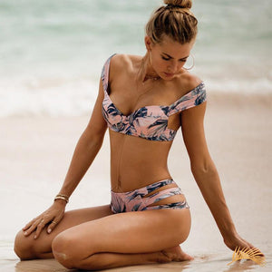 Pink Sands | Pink Tropical Push Up Bikini