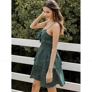 Polka Dot Bow Short Dress