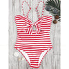 Royan | Pinstripe halter Front Bow One Piece