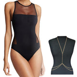 Santa Monica | Sporty Sheer Halter One Piece Swimsuit