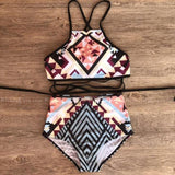 Sumatra | Tribal Crop Top Strappy Hi Waist Bikini