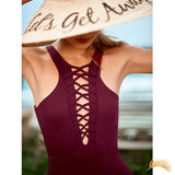 Tangier | Lace Up Halter One Piece Swimsuit