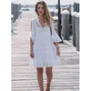 Trumpet Sleeve White Mini Dress