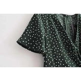 Wrap Flounces Polka Dots Mini Dress