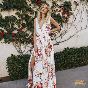 Wrap Tie Floral Maxi Dress