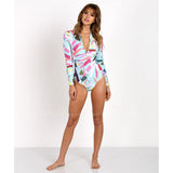 Zicatela | Color Brush Zipper Long Sleeve One Piece Swimsuit
