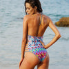 Bahamas | Colorful Tribal Halter Strappy One Piece Swimsuit
