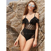 Cannes | Deep V  Neck Off Shoulder Ruffle Polka Dot Sheer One Piece Swimsuit