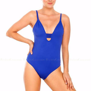 Corsica | Blue Deep V Backless Strappy Crochet One Piece Swimsuit