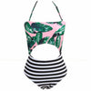 Kapolei | Tropical Leaves And Stripes Print Cut Out One Piece Swimsuit