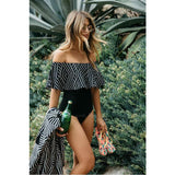 Mayorca | Off Shoulder Tribal Black And White One Piece Swimsuit
