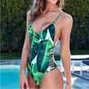 Palm Beach |  Topical Leaves Side Straps One Piece Swimsuit