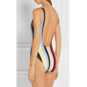 Valencia | Sporty Multicolor Stripes Backless One Piece Swimsuit