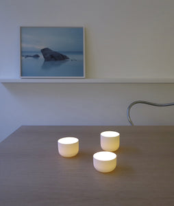 Tea Light Holders Bisque (set of 3) in use - Smaller Objects | Shortlist store Ghent Belgium