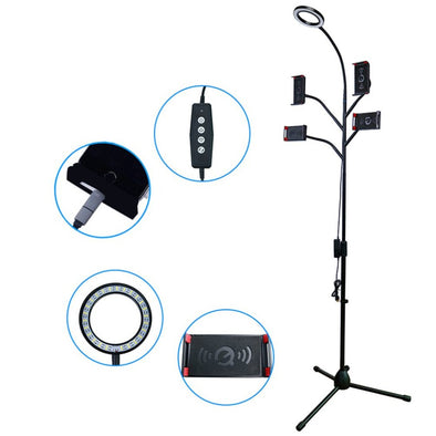 Magnetic Phone Holder Floor Broadcast Stand With 4 Clamps Selfie Ring Light Stand soporte movil auto