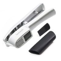Presse Coupe Ail Aluminium-Epluche Rapide Silicone-Kitchen Aluminium Garlic Press set with Silicone Tube Roller, Multifunction Cooking Tools by Leeseph
