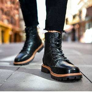 Size up to 47!British Fur Leather  Martin Boots