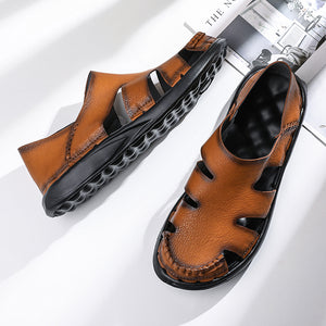 Men Soft Cow Leather Breathable Sandals