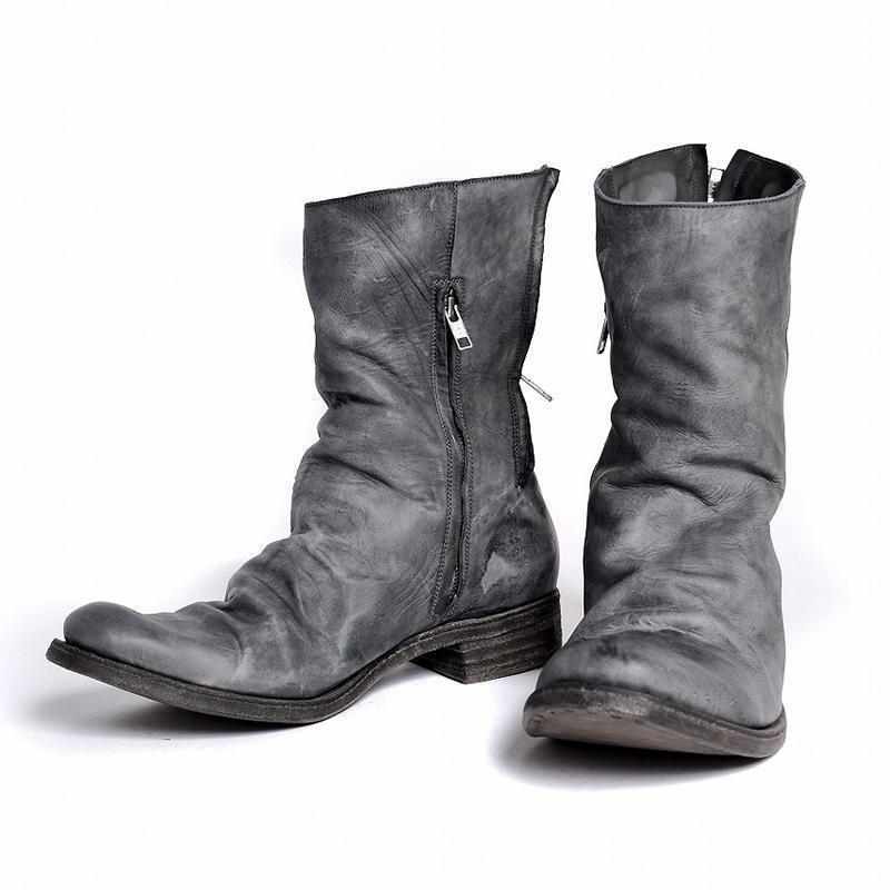 Genuine Leather Pleated Zipper Boots