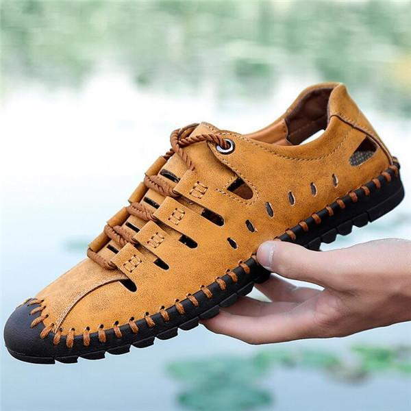 Large Size Men Stitching Microfiber Leather Hollow Out Casual Sandals