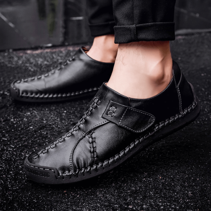 Men Soft Sole Hand Stitching Genuine Leather Hook Loop Flat Oxfords Shoes