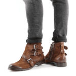 Buckle Side Zipper Suede Leather Boots