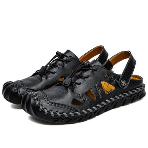 Large Size Men Hand Stitching Leather Anti-collision Non-slip Soft Casual Sandals