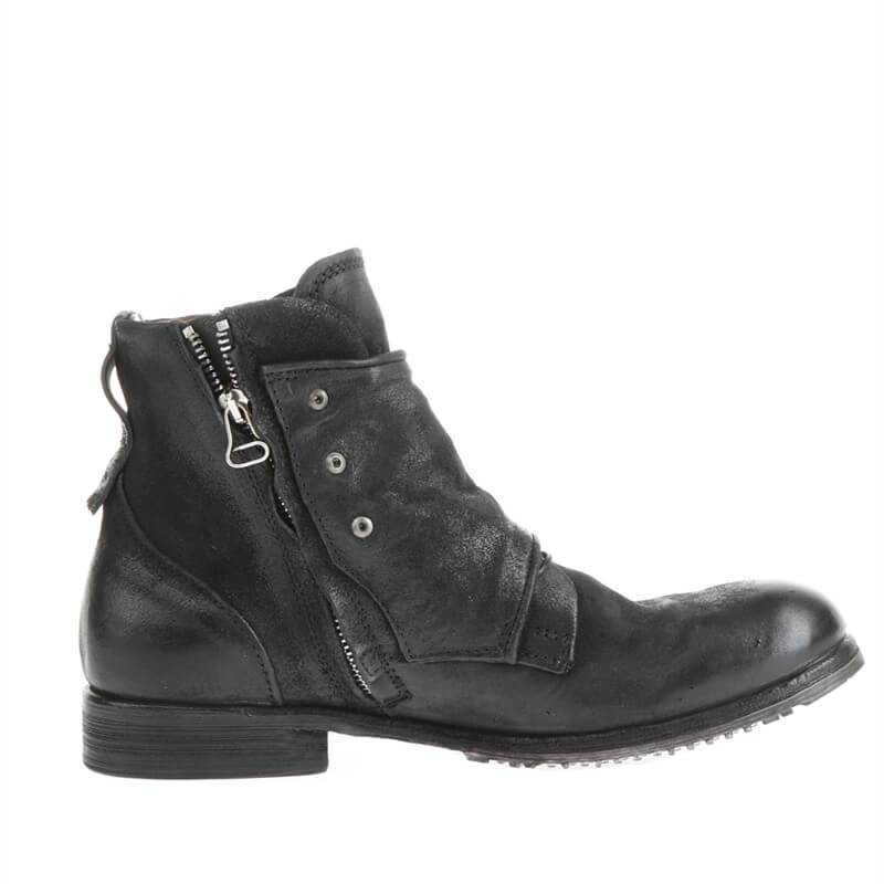 Men Buckle Zipper Suede Leather Boots