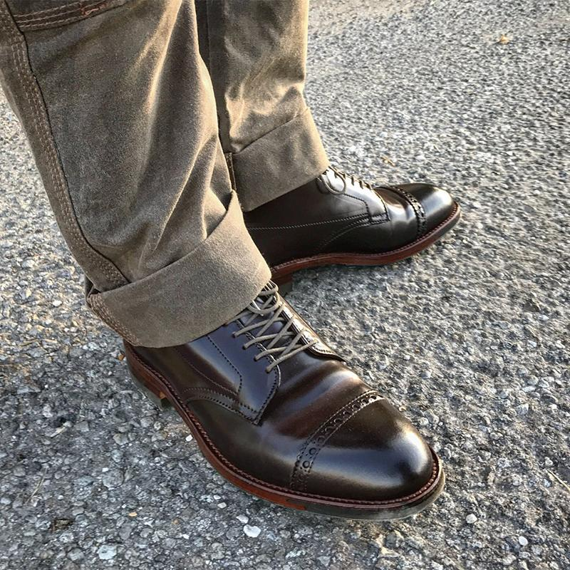 Handmade Russet calfskin Leather  Straight Tip Boot