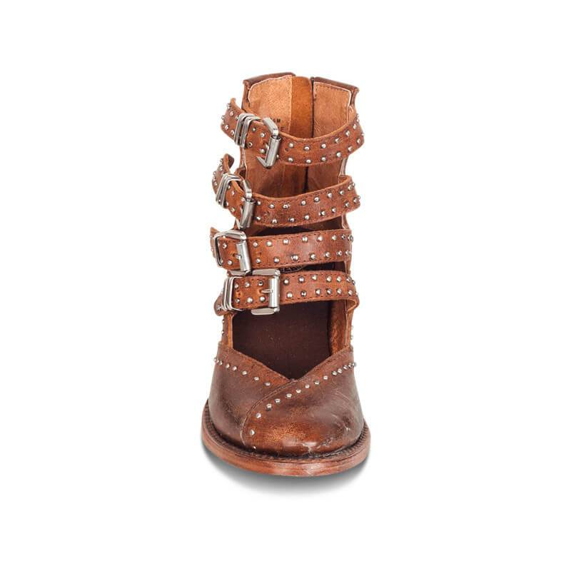Hand Rivet Buckle Leather Boots