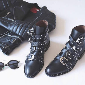 2019New Punk Rivet Scooter Ankle Boot Martin boot
