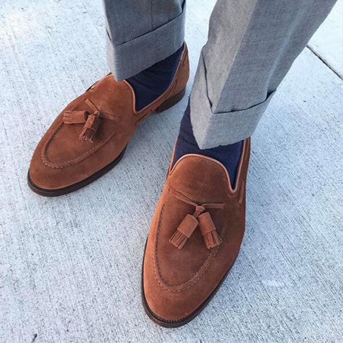 British Style Genuine Suede Tassel Loafer