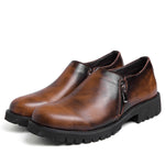 Men Comfy Genuine Leather Side Zipper Slip On Boots