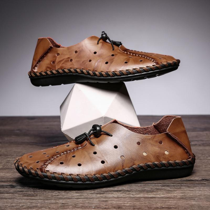 Hollow  Breathable Genuine Leather Lazy Casual Shoes