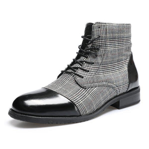 Men Genuine Leather Hand Stitching Ankle Boots