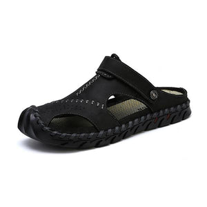 Vintage Anti-collision Toe Adjustable Heel Strap Outdoor Leather Sandals