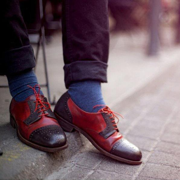 Vintage Handmade Brogue Lace Up Shoes