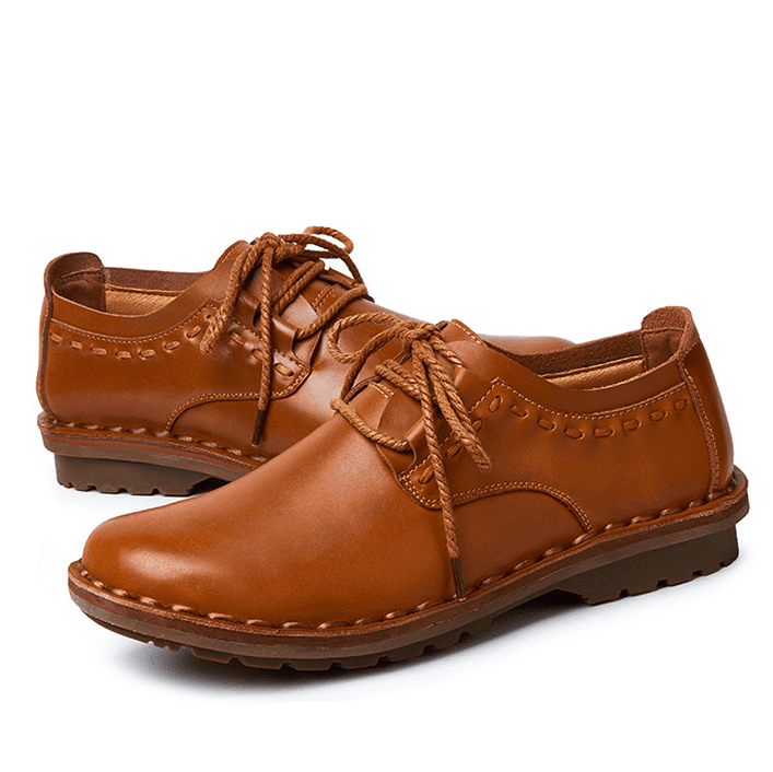 Men Hand Stitching Leather Slip Resistant Soft Sole Causal Shoes