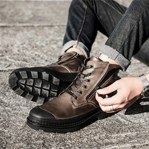 Men's Cow Leather High-top Wear-resistant Casual Boots
